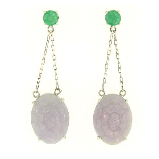 Mason Kay 18k White Gold Lavender and Green Jadiete Dangle Earrings