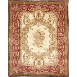 Handmade Aubusson Maisse Light Gold/ Red Wool Rug (7'6 x 9'6)