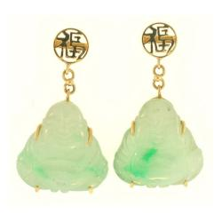 Mason Kay 14k Yellow Gold Carved Green Jadeite Buddha Dangle Earring