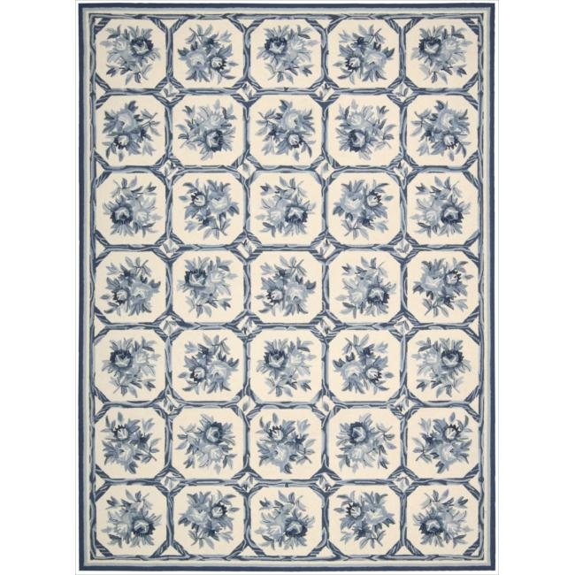 Nourison Hand-hooked Country Heritage Ivory/Blue Rug (8' x 11')