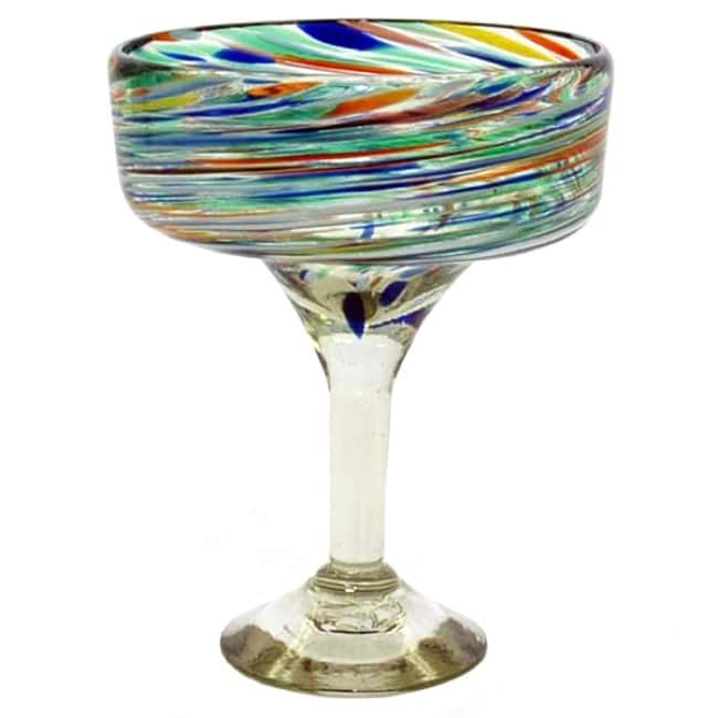 Carnival Clear/Swirl-pattern Margarita Glasses (Set of Four) (Mexico)