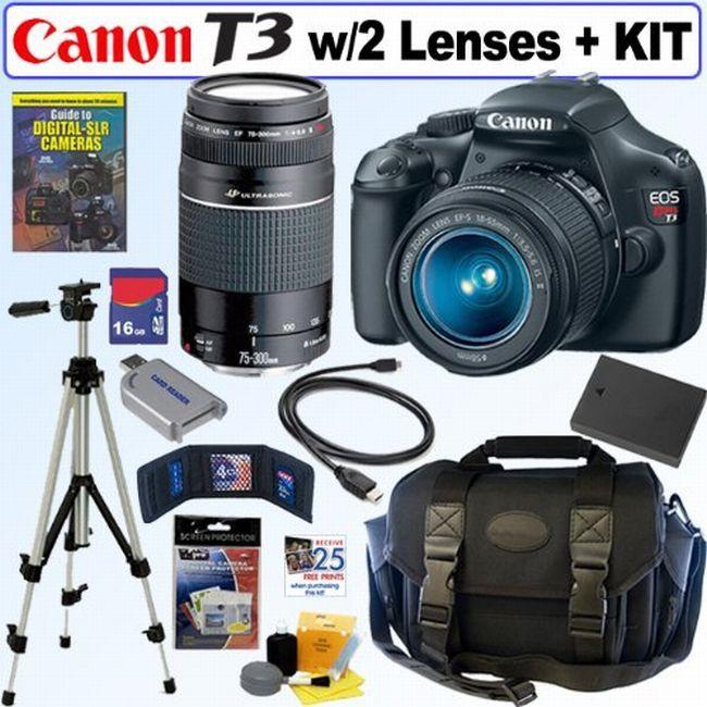 Canon EOS Rebel T3 12MP DSLR Camera/ 18-55 IS II & 75-300 III USM Lens/ 16GB Kit