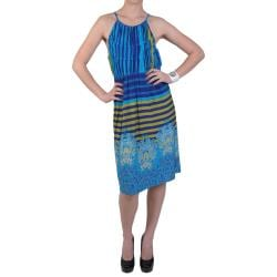 Sangria Women's Stripe and Paisley Stretch Knit Sleeveless Dress