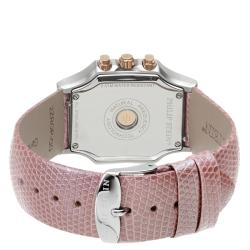 Philip Stein Women's 'Signature' White Dial Pink Leather Strap Watch
