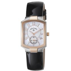 Philip Stein Women's 'Signature' Black Leather Strap Two Tone Watch