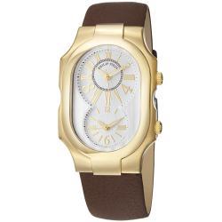 Philip Stein Women's 'Signature' Goldtone Brown Leather Strap Watch