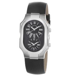 Philip Stein Women's 'Signature' Black Dial Black Leather Strap Watch