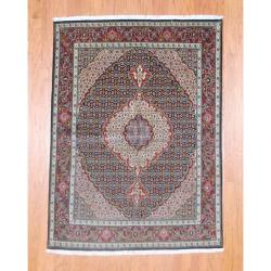 Persian Hand-knotted Tabriz Navy/ Burgundy Wool/ Silk Rug (5' x 6'10)