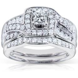 14k White Gold 1ct TDW Diamond Bridal Rings Set