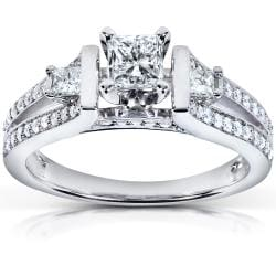14k White Gold 3/4 ct TDW Diamond Three-stone Engagement Ring (H-I, I1-I2)