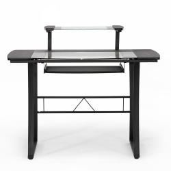 Paulson Black Steel Modern Computer Desk with Glass Desktop