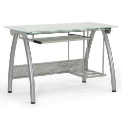 Tamm Silver Modern Computer Desk with CPU Stand