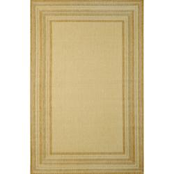 Line Border Natural / Aqua Rug (1'11 x 7'6)