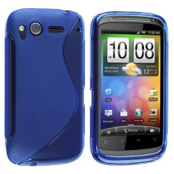 Frost Blue S Shape TPU Rubber Skin Case for HTC Desire S