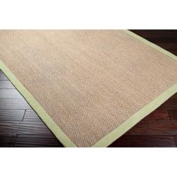 Hand-woven Green Pursuit Natural Fiber Seagrass Cotton Border Rug (9' x 13')