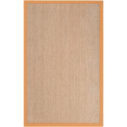 Hand-woven Orange Vessel Natural Fiber Seagrass Cotton Border Rug (5' x 8')