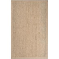 Hand-woven Tan Proficient Natural Fiber Seagrass Cotton Border Rug (5' x 8')