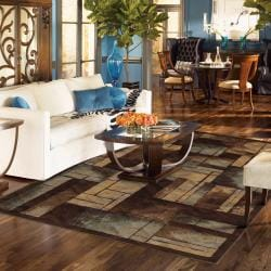Mohawk Home Roby Brown/ Blue Contemporary Rug (5' x 8')