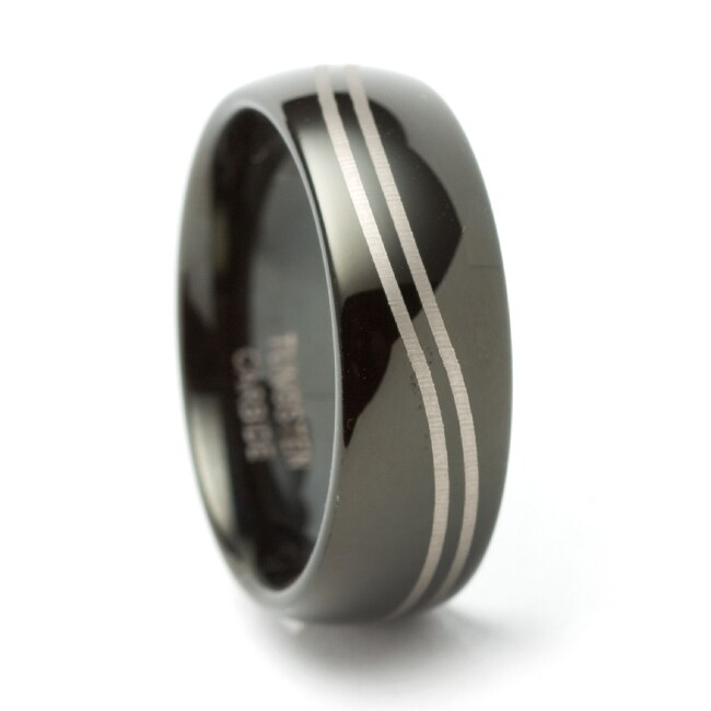 Black Tungsten Carbide Domed Curved Groove Ring (8 mm)