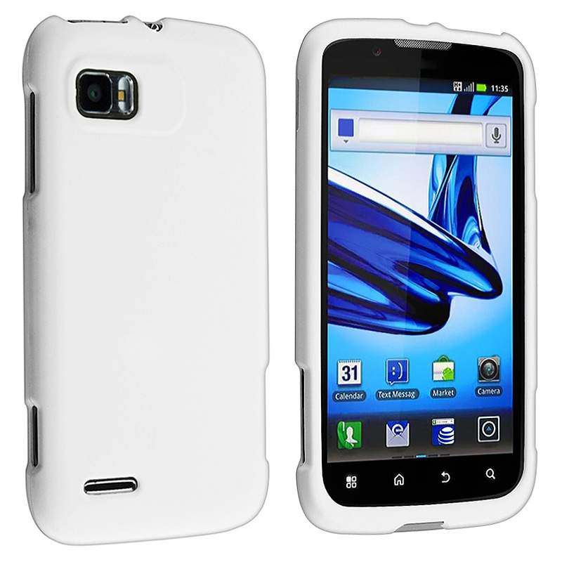 White Snap-on Rubber Coated Case for Motorola Atrix MB856