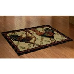 Mohawk Home Country Roosters Brown Kitchen Rug (2'6 x 4'2)
