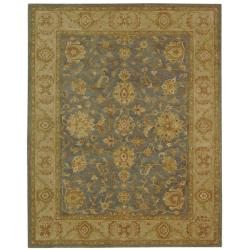 Handmade Antiquities Jewel Grey Blue/ Beige Wool Rug (11' x 17')