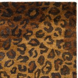 Handmade Leopard Gold/ Rust Hand-spun Wool Rug (2' x 3')