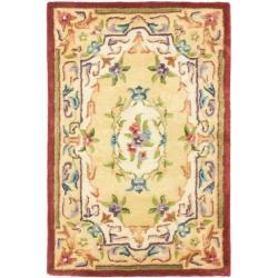 Handmade French Aubusson Loubron Gold Premium Wool Rug (2' x 3')