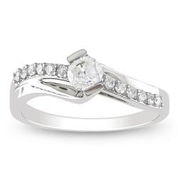 Miadora 10k White Gold 1/2ct TDW Diamond Engagement Ring