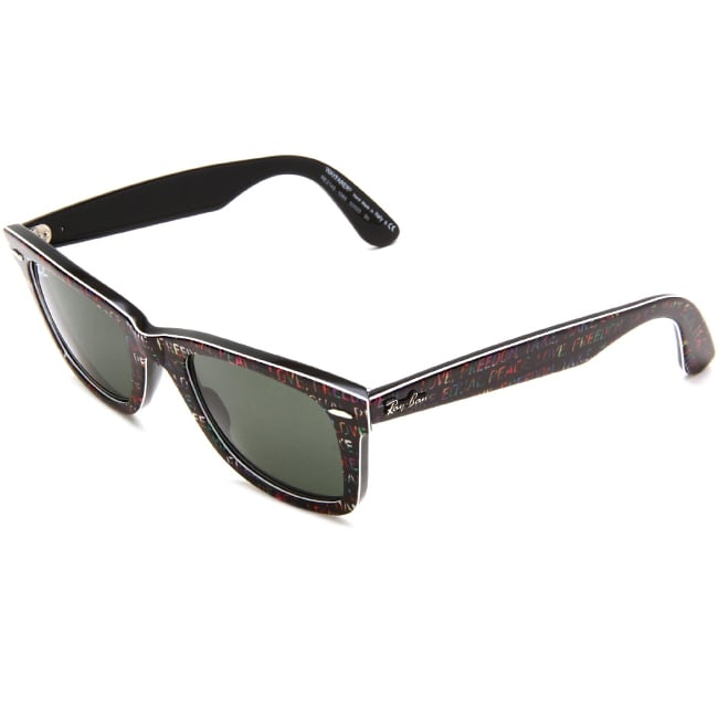 Ray-Ban 'RB 2140 1089' Black Freedom Print Wayfarer Sunglasses