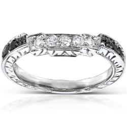 14k Gold 1/4ct TDW Black and White Diamond Curved Wedding Band (H-I, I1-I2)