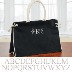 'Hampton' Black Personalized Tote