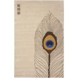 Safavieh Handmade Soho Peacock Feather Beige N. Z. Wool Rug (3'6 x 5'6')