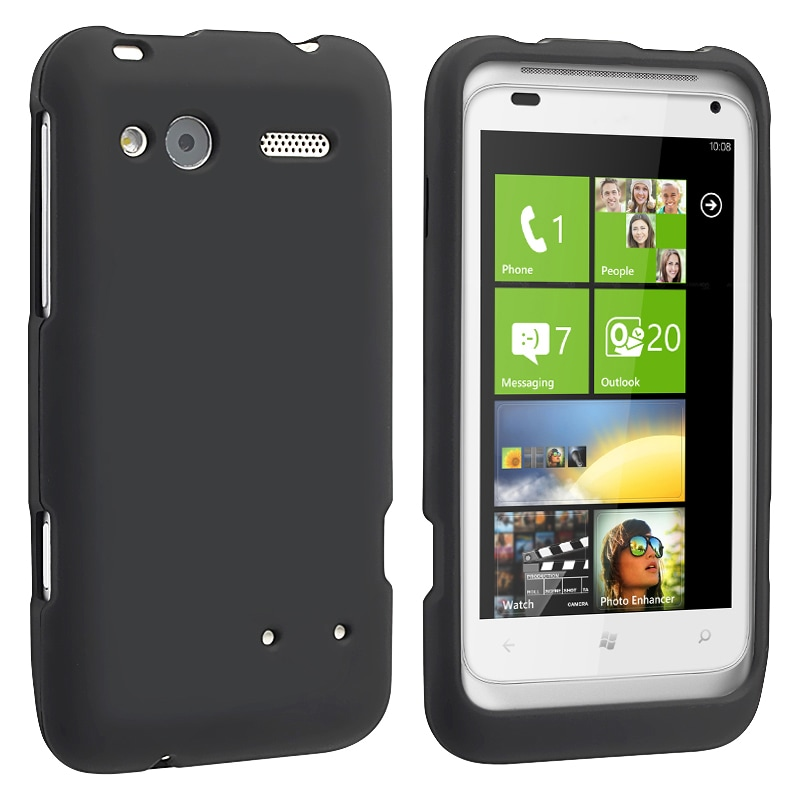 Black Snap-on Rubber Coated Case for HTC Radar 4G
