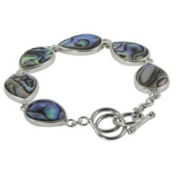 Gems For You Sterling Silver Abalone Toggle Bracelet
