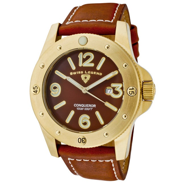 Swiss Legend Men's 'Conqueror' Brown Leather Watch