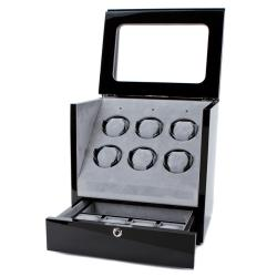 Collectors Multi-Function Black MDF, Acrylic, and Velvet Watch Winder
