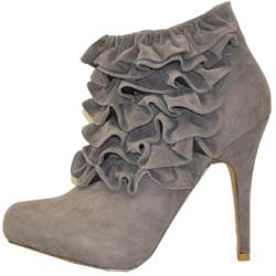 Fahrenheit Women's 'Yama-06' Ruffle Faux Suede Ankle Booties