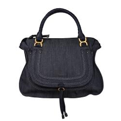 Chloe 'Marcie' Large Denim Satchel Bag with Leather Trim