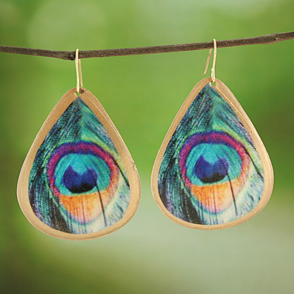Handcrafted Silvertone Enamel Peacock Feather Print Teardrop Earrings (India)