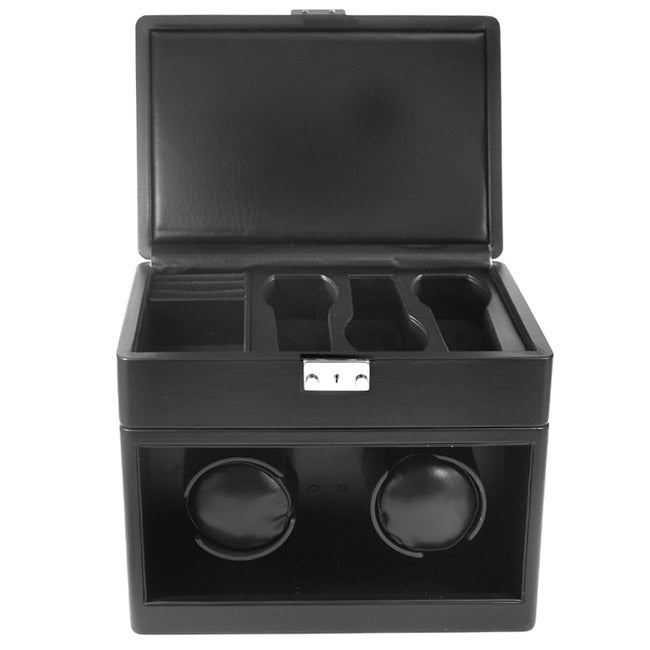Collectors Black Leatherette Dual Watch Winder and Storage Box