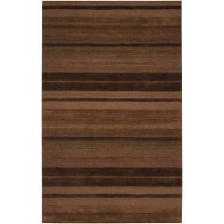 Hand-crafted Brown Stripe Casual Mystique Wool Rug (3'3 x 5'3)