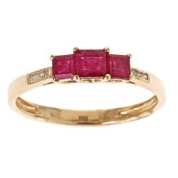 D'Yach 14k Yellow Gold Thai Ruby and Diamond Accent Ring