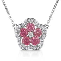 Miadora 14k Gold 1/2ct TDW Pink Diamond Flower Necklace (H-I, I1-I2)