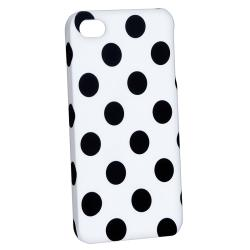 White/ Black Dot Snap-on Rubber Coated Case for Apple iPhone 4/ 4S