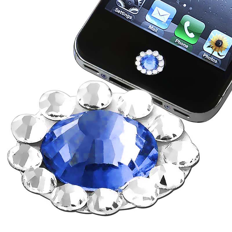 Blue Diamond Home Button Sticker for Apple iPhone/ iPad/ iPod Touch