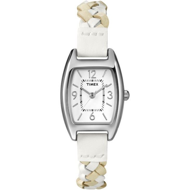 Timex T2N764KW Women's Weekender Shaped Case White/ Tan Woven Leather Strap Watch
