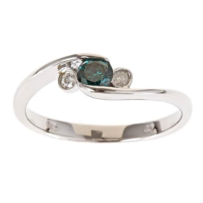 D'Yach Sterling Silver 1/3ct TDW Blue and White Diamond Ring (G-H, I1-I2)