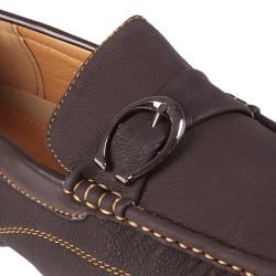 Boston Traveler Men's Topstitched Buckle Detail Square Toe Loafer