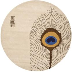 Handmade Soho Peacock Feather Beige N. Z. Wool Rug (6' Round)